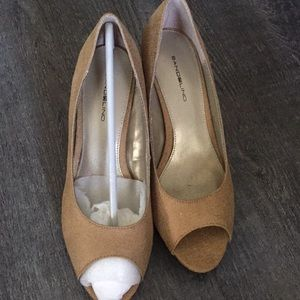 Khaki colored peep toe heels